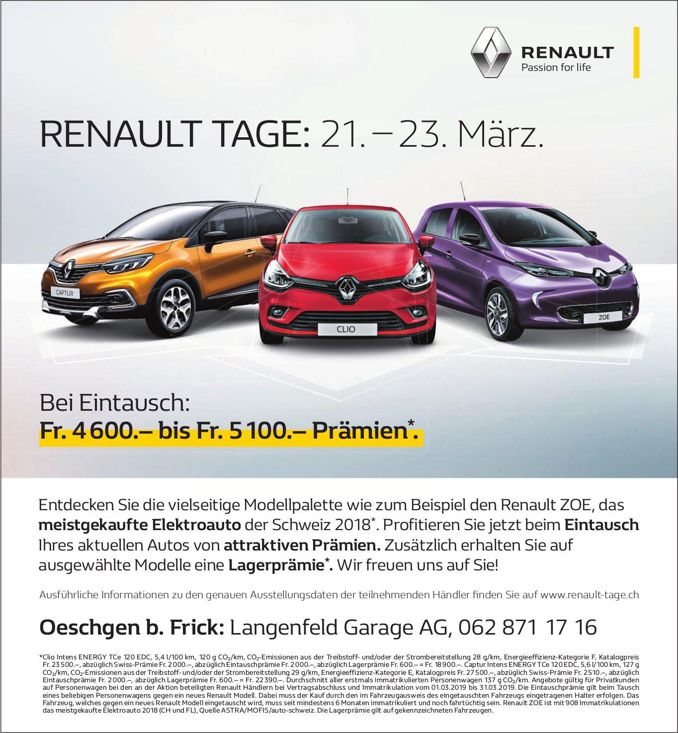 Langenfeld Garage AG, Oeschgen b. Frick - RENAULT TAGE: 21. – 23. März.
