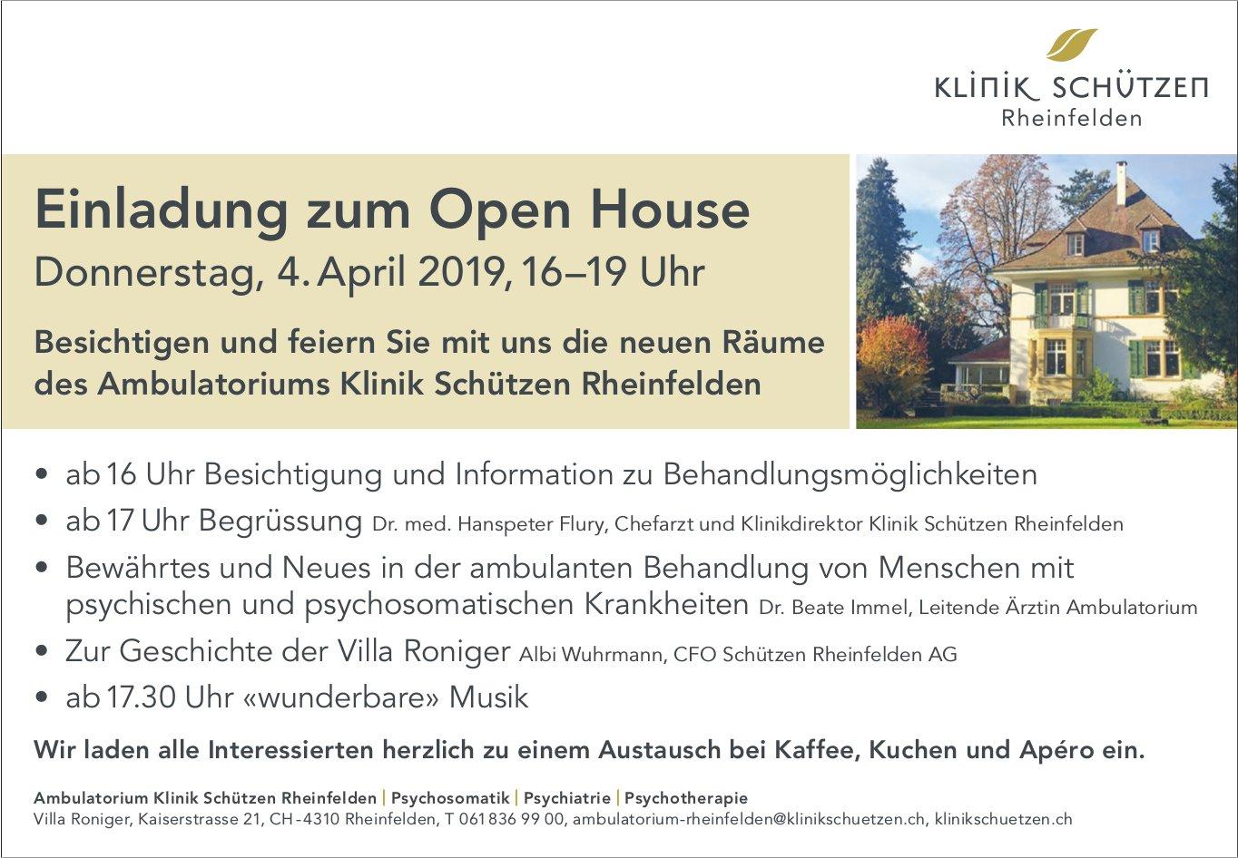 Ambulatorium Klinik Schützen Rheinfelden - Einladung zum Open House am 4. April