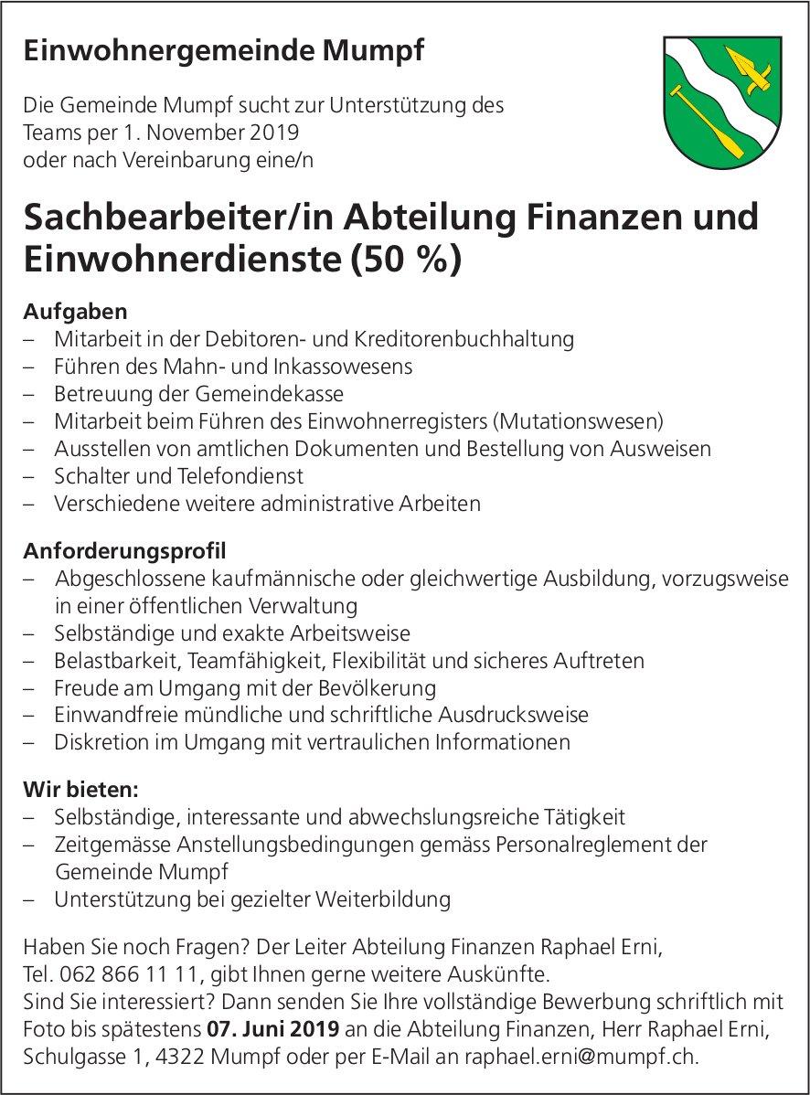 Sachbearbeiter/in Abteilung Finanzen und Einwohnerdienste (50 %) bei Einwohnergemeinde Mumpf gesucht