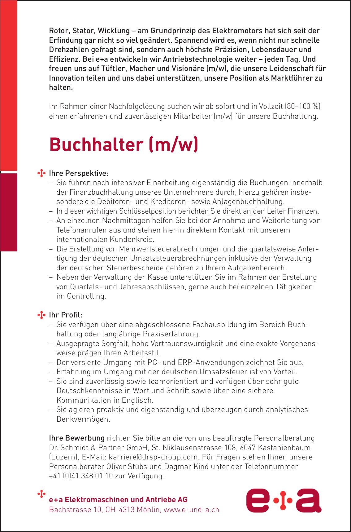 Buchhalter (m/w) bei e+a Elektromaschinen und Antriebe AG gesucht