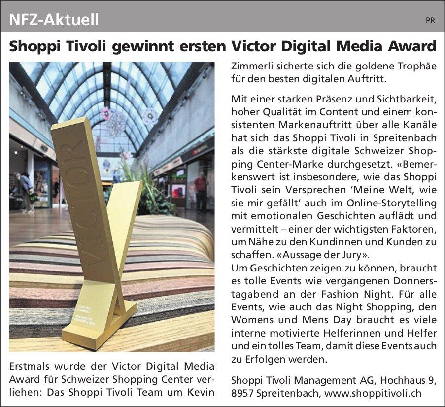 NFZ-Aktuell - Shoppi Tivoli gewinnt ersten Victor Digital Media Award