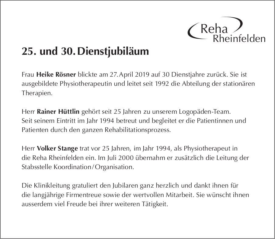 Reha Rheinfelden - 25. und 30. Dienstjubiläum