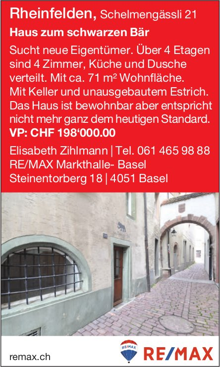 Haus zum schwarzen Bär, 4 Zimmer, in Rheinfelden zu verkaufen