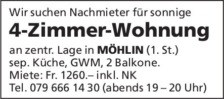 Nachmieter für 4-Zimmer-Wohnung in Möhlin gesucht