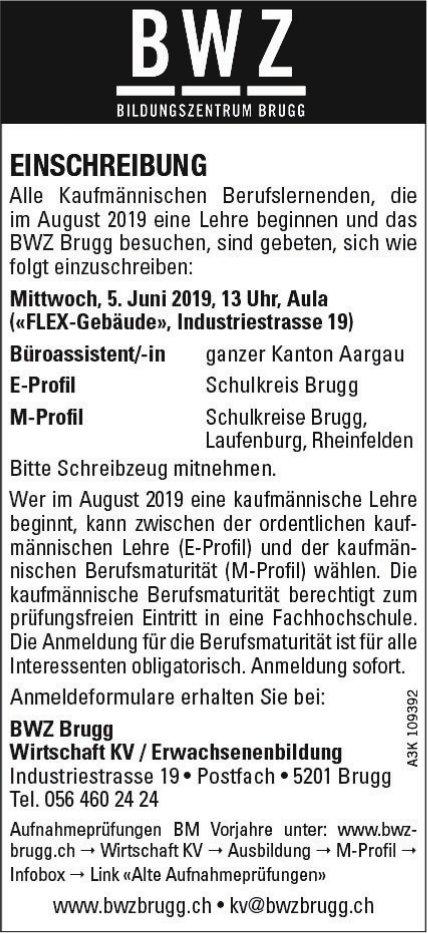 BWZ Brugg Wirtschaft KV/ Erwachsenenbildung - EINSCHREIBUNG AM 5. JUNI