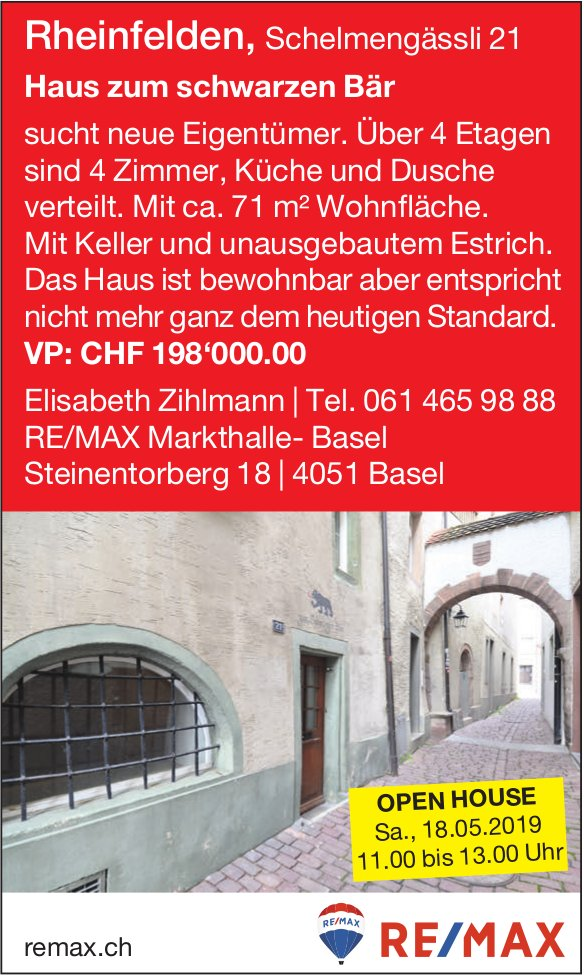 Haus zum schwarzen Bär, Rheinfelden, sucht neue Eigentümer