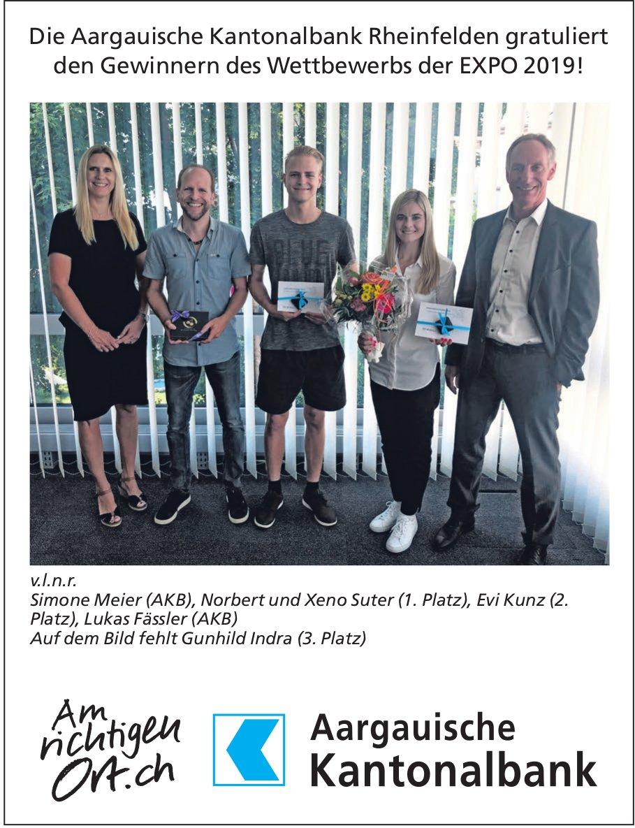 Die Aargauische Kantonalbank Rheinfelden gratuliert den Gewinnern des Wettbewerbs der EXPO 2019!