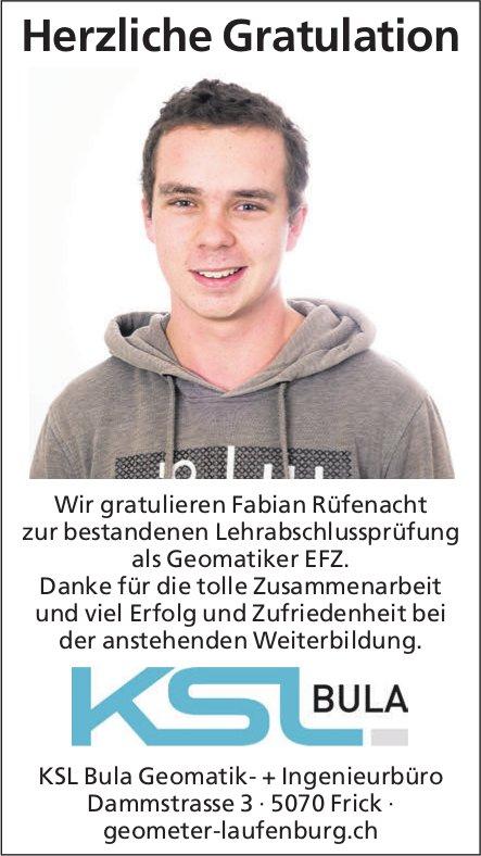 KSL Bula Geomatik- + Ingenieurbüro - Wir gratulieren Fabian Rüfenacht zur bestandenen LAP