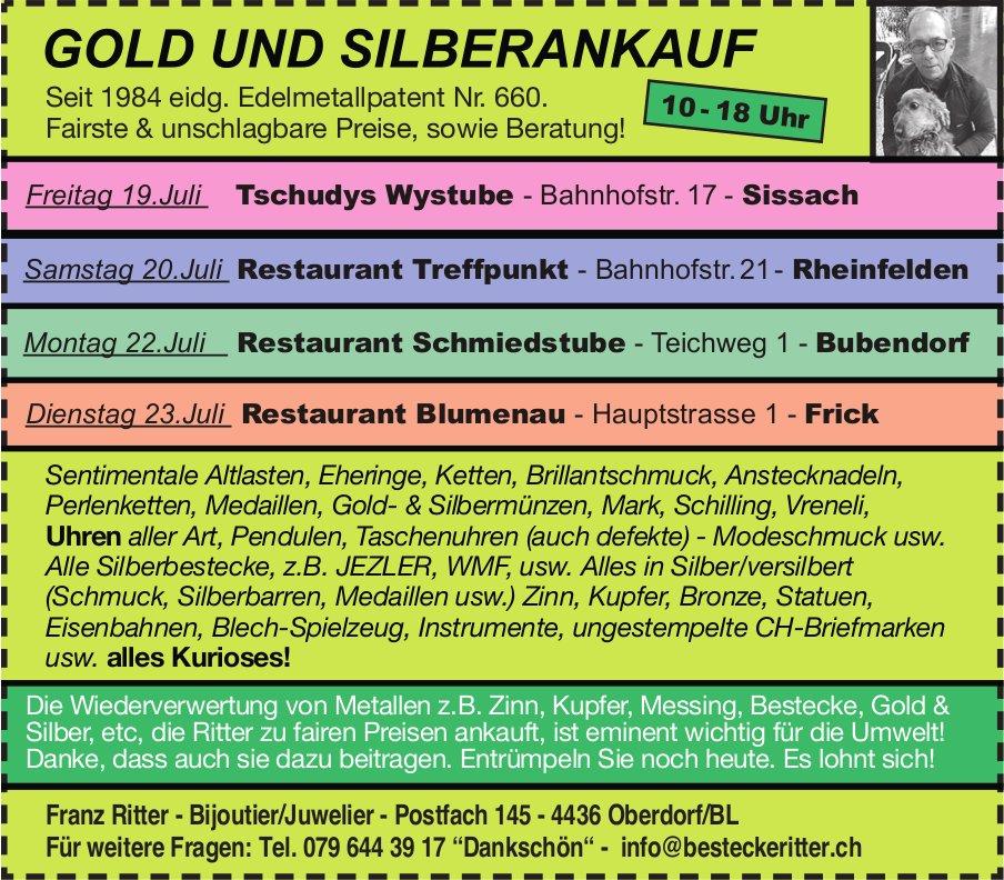 Franz Ritter, Biioutier/Juwelier - GOLD UND SILBERANKAUF, 19./20./22./23. Juli