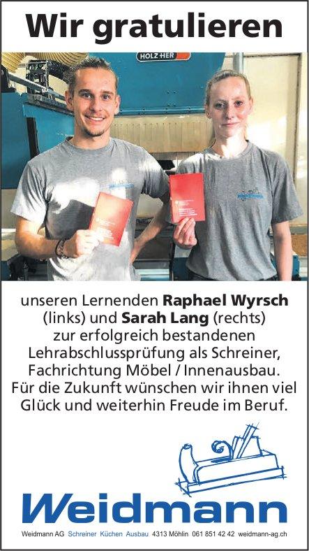 Weidrnann AG - Wir gratulieren unseren Lernenden zur erfolgreich bestandenen LAP