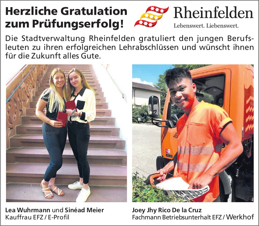 Stadtverwaltung Rheinfelden - Herzliche Gratulation zum Prüfungserfolg!