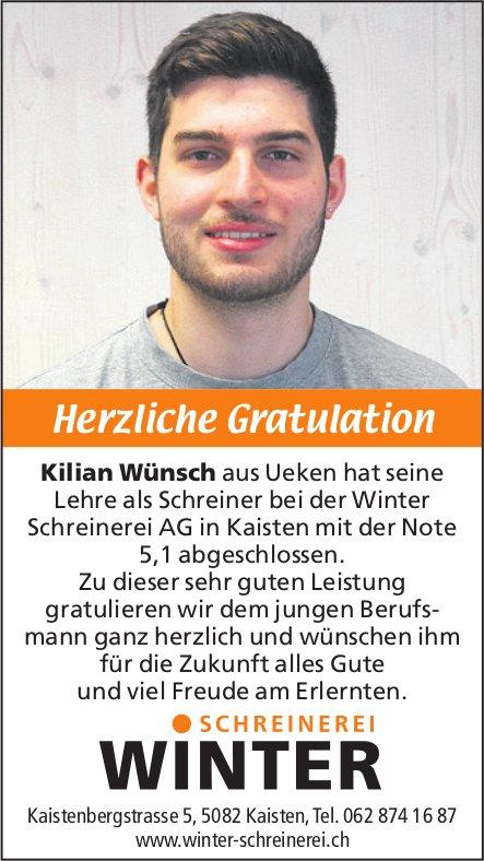 Winter Schreinerei - HerzlicheGratulation Kilian Wünsch