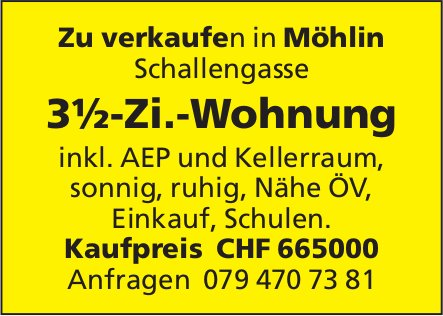 3½-Zi.-Wohnung in Möhlin zu verkaufen