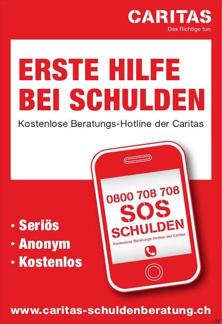 CARITAS - ERSTE HILFE BEI SCHULDEN: KOSTENLOSE BERATUNGS-HOTLINE