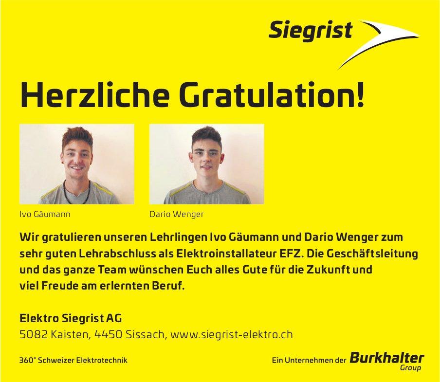 Elektro Siegrist AG - Wir gratulieren unseren Lehrlingen Ivo Gäumann und Dario Wenger