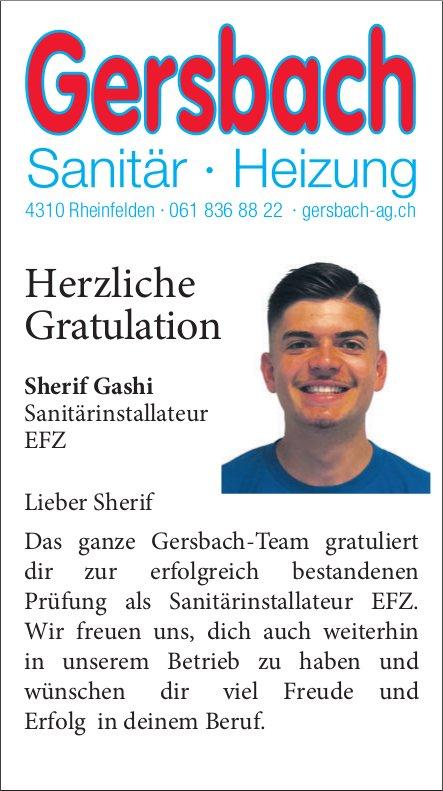Gersbach Sanitär - Heizung - Herzliche Gratulation Sherif Gashi
