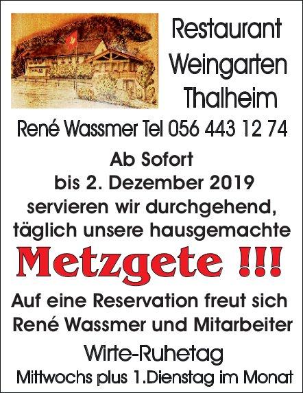 Restaurant Weingarten Thalheim - Metzgete ab sofort bis 2. Dezember