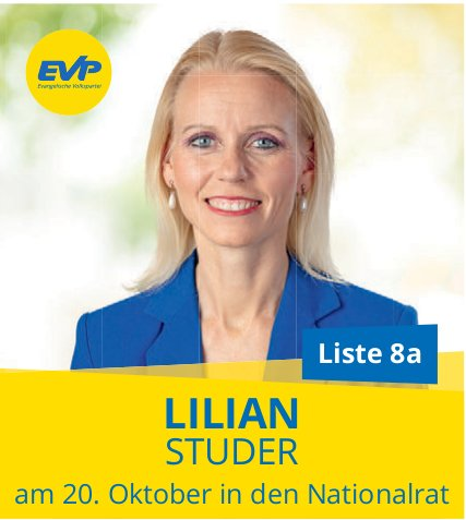 EVP - LILIAN STUDER am 20. Oktober in den Nationalrat