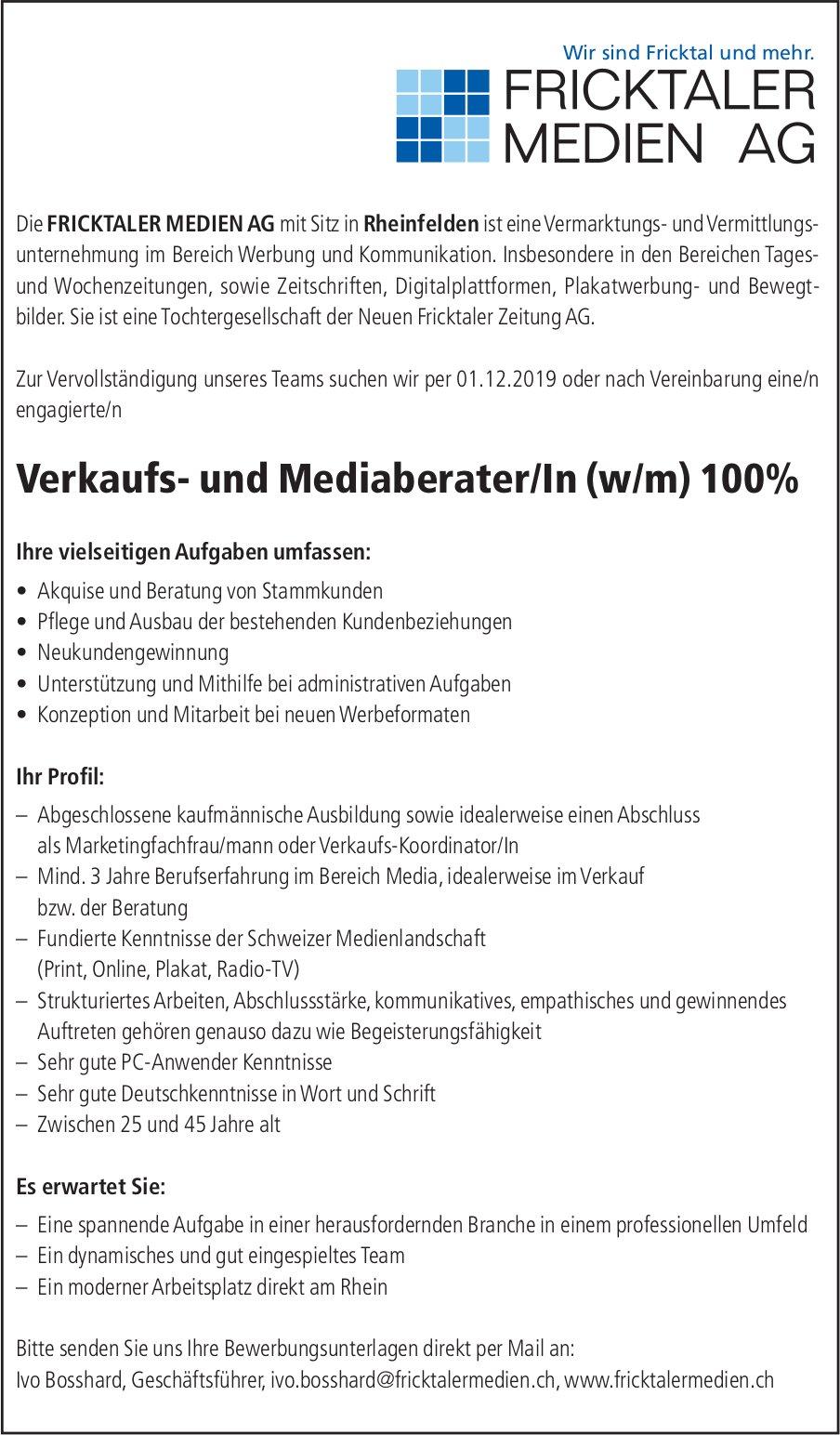 Verkaufs- und Mediaberater/In (w/m) 100% bei Fricktaler Medien AG gesucht