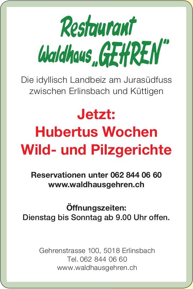 """Restaurant Waldhaus """"GEHREN"""" - Jetzt: Hubertus Wochen Wild- und Pilzgerichte"""