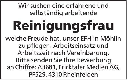 Reinigungsfrau für EFH in Möhlin gesucht