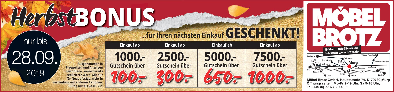Möbel Brotz - Herbst Bonus nur bis 28. September
