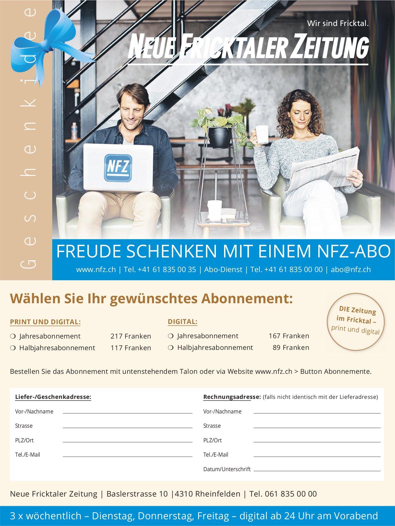 FREUDE SCHENKEN MIT EINEM NFZ-ABO