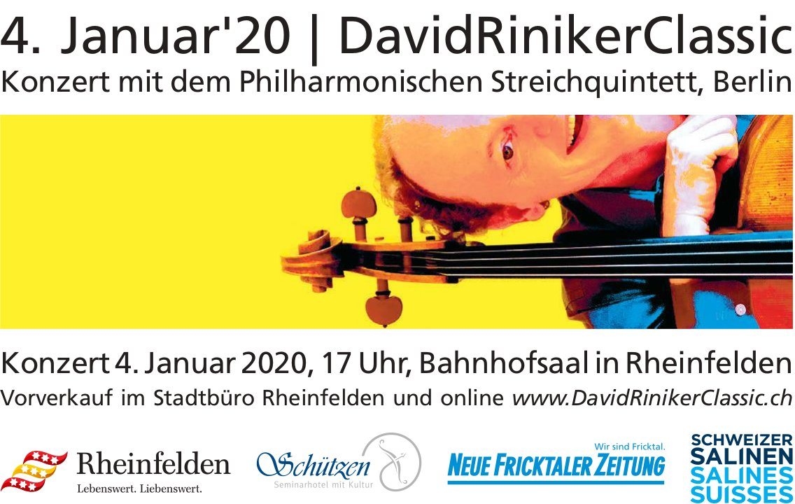 DavidRinikerClassic - Konzert mit dem Philharmonischen Streichquintett, Berlin, 4. Januar 2020