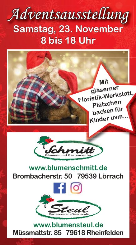 Blumen Schmitt/ Blumen Steul - Adventsausstellung am 23. November
