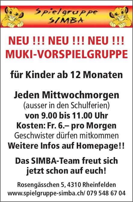 Spielgruppe SIMBA: NEU !! MUKI-VORSPIELGRUPPE für Kinder ab 12 Monaten