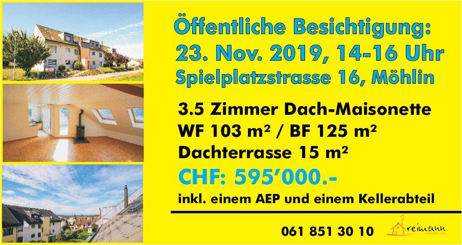 3.5 Zimmer Dach-Maisonette in Möhlin zu verkaufen. Öffentliche Besichtigung am 23. November