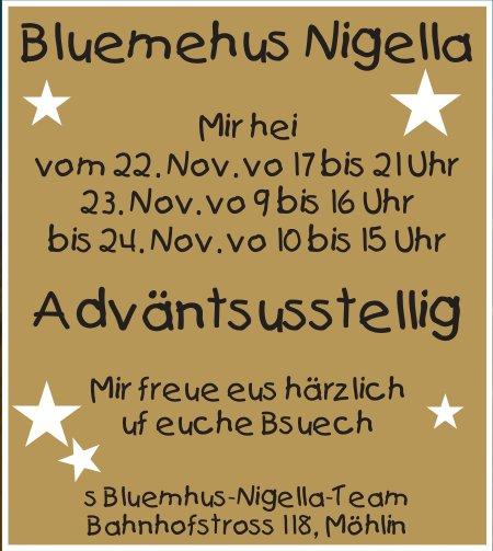 Bluemehus Nigella - Adväntsusstellig vom 22. bis 24. November