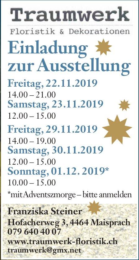 Franziska Steiner Floristik & Dekorationen - Ausstellung, 23./23./29./30. Nov. & 1. Dez.