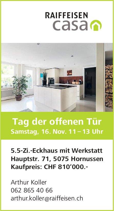 5.5-Zi.-Eckhaus mit Werkstatt in Hornussen zu verkaufen. Tag der offenen Tür am 16. November