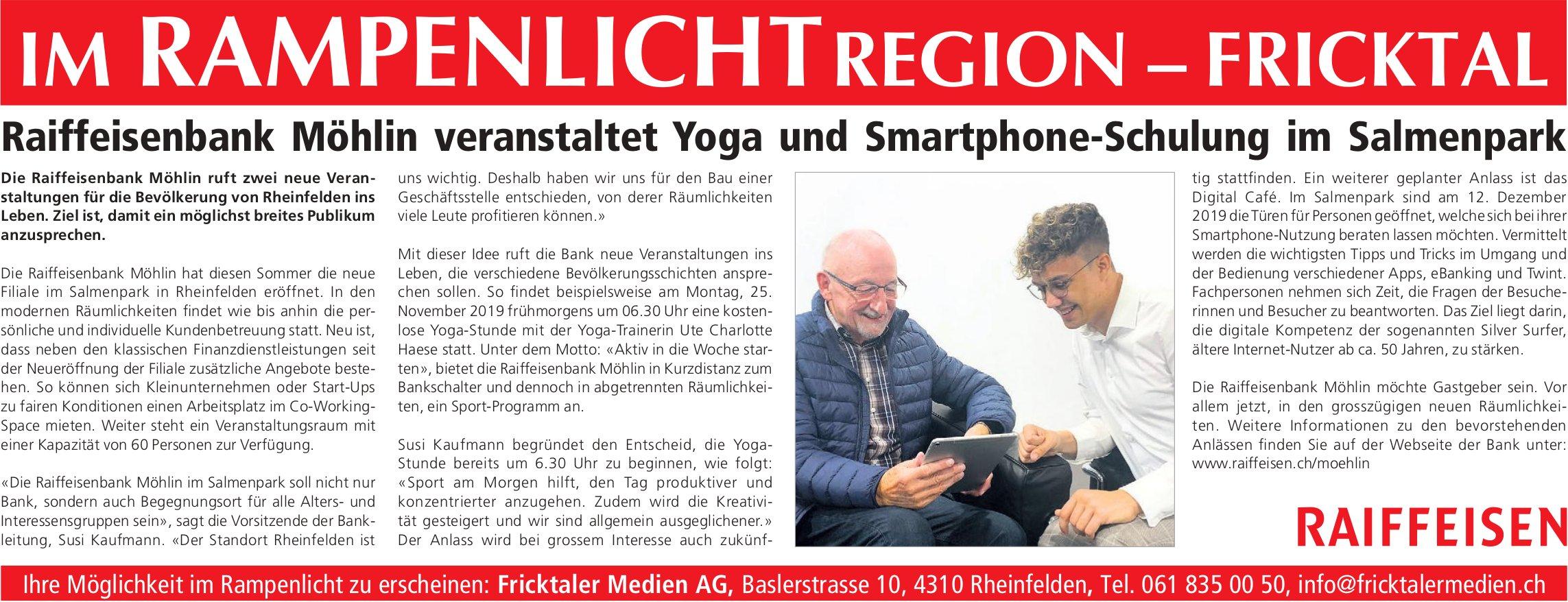 Raiffeisenbank Möhlin veranstaltet Yoga und Smartphone-Schulung im Salmenpark