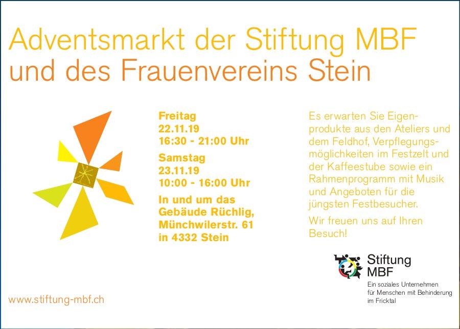 Adventsmarkt der Stiftung MBF und des Frauenvereins Stein, 22. und 23. November