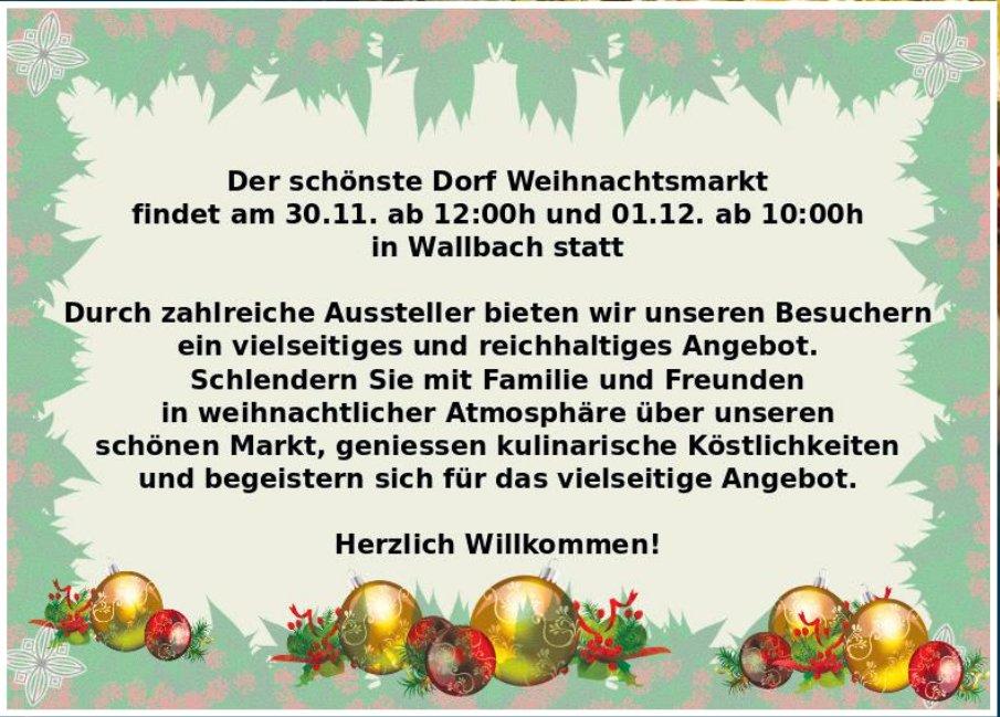 Der schönste Dorf Weihnachtsmarkt findet am30. November in Wallbach statt