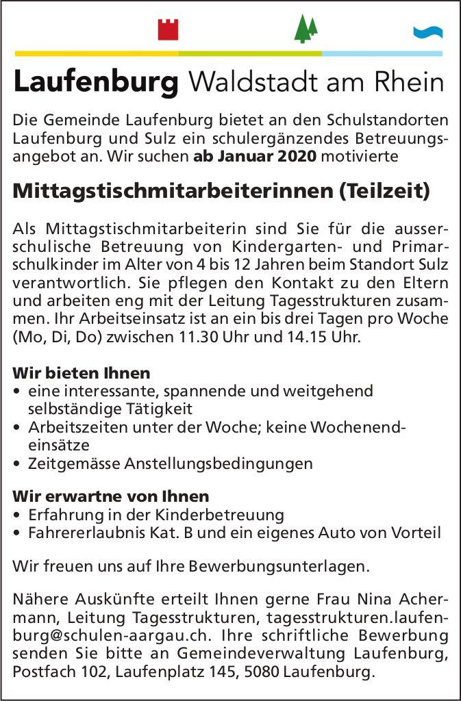Mittagstischmitarbeiterinnen (Teilzeit) bei Gemeinde Laufenburg gesucht
