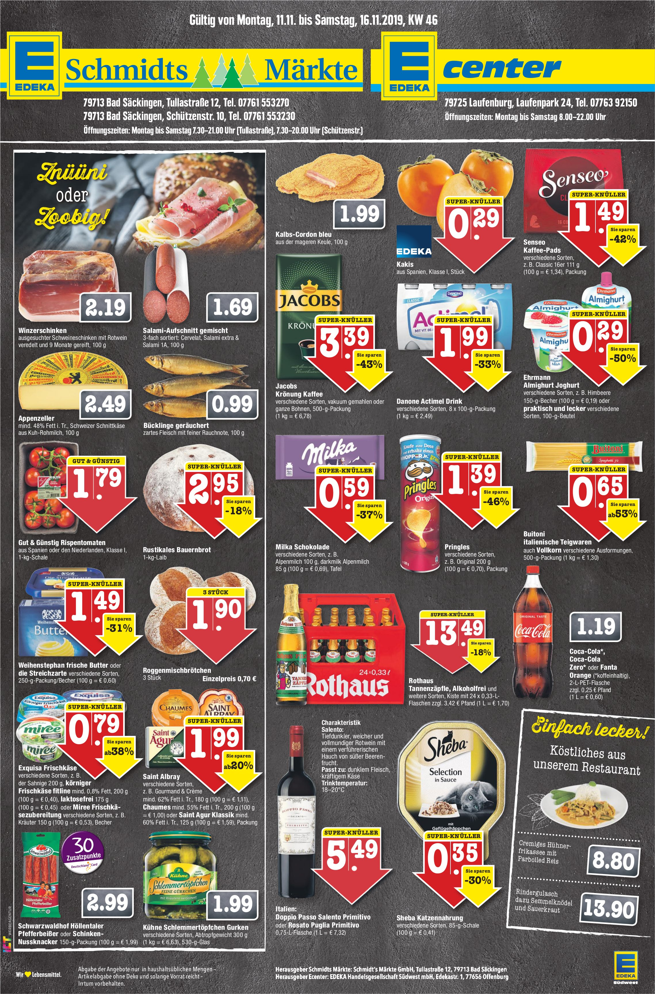 EDEKA Schmidts Märkte/EDEKA Center - Angebote vom 11 bis 16. November