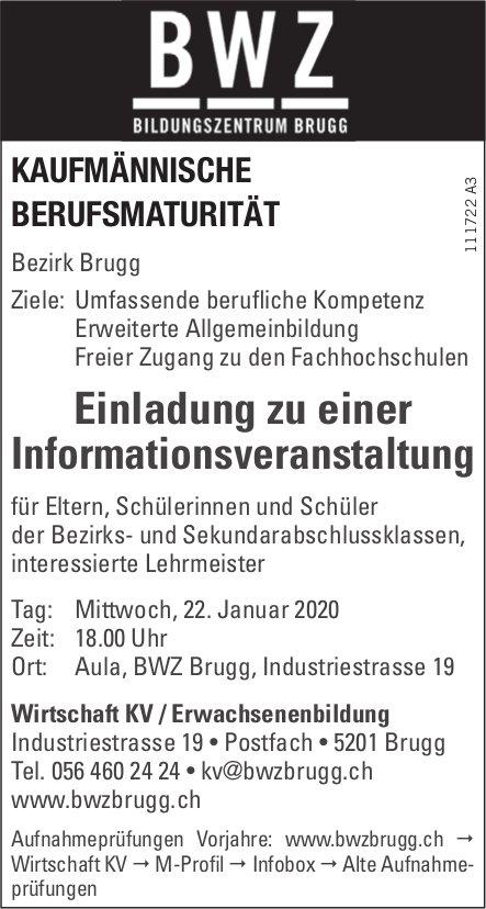 Wirtschaft KV / Erwachsenenbildung - Einladung zu einer Informationsveranstaltung am 22. Januar