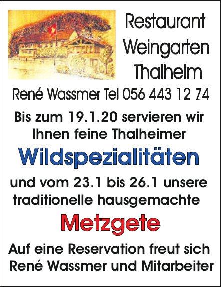 Restaurant Weingarten - Wildspezialitäten bis zum 19.1. und Metzgete vom 23.1 bis 26.1