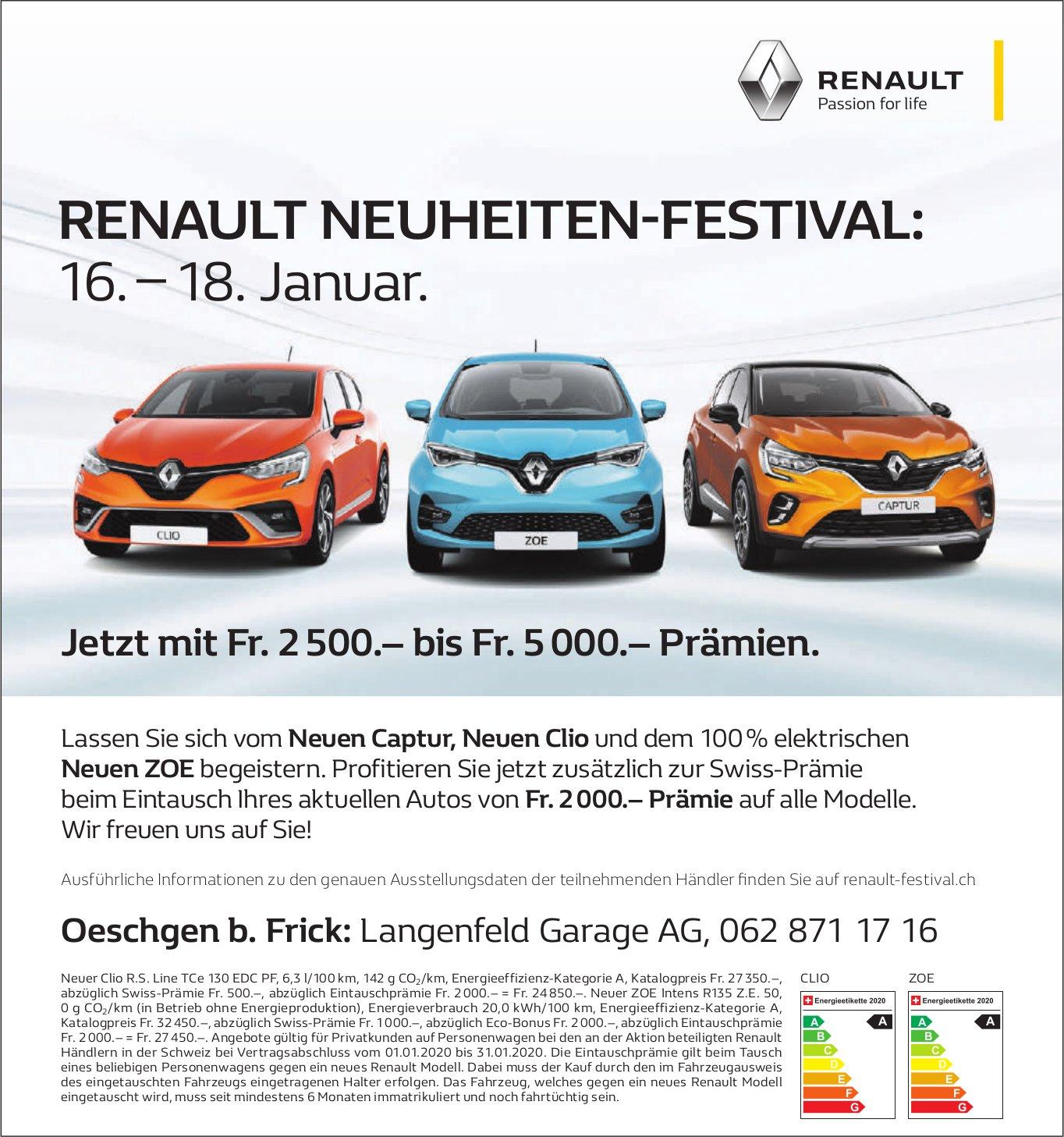 Langenfeld Garage AG - RENAULT NEUHEITEN-FESTIVAL: 16. – 18. Januar.