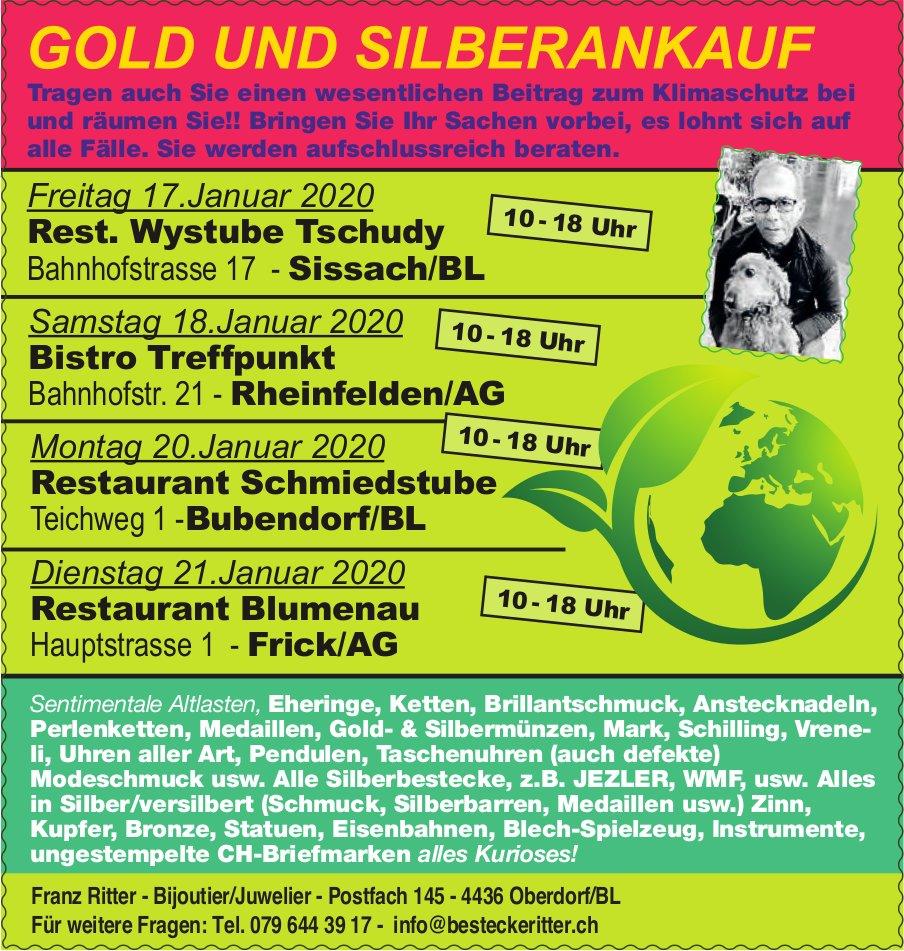 GOLD UND SILBERANKAUF, 17./18./20./21.  Januar