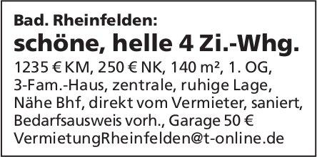 Schöne, helle 4 Zi.-Whg., Bad. Rheinfelden zu vermieten
