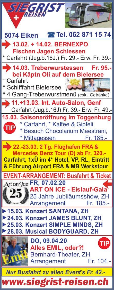 Programm & Events, Siegrist Reisen,  Eiken
