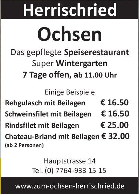 Ochsen Herrischried - Speiserestaurant: Einige Beispiele
