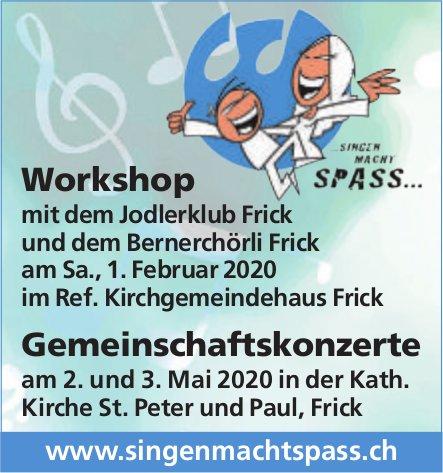 Singen macht spass - Workshop, 1. Feb. und Gemeinschaftskonzerte, 2. und 3. Mai