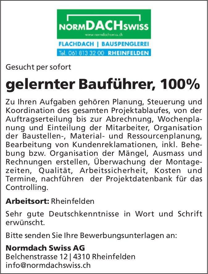 Gelernter Bauführer bei Normdach Swiss AG gesucht