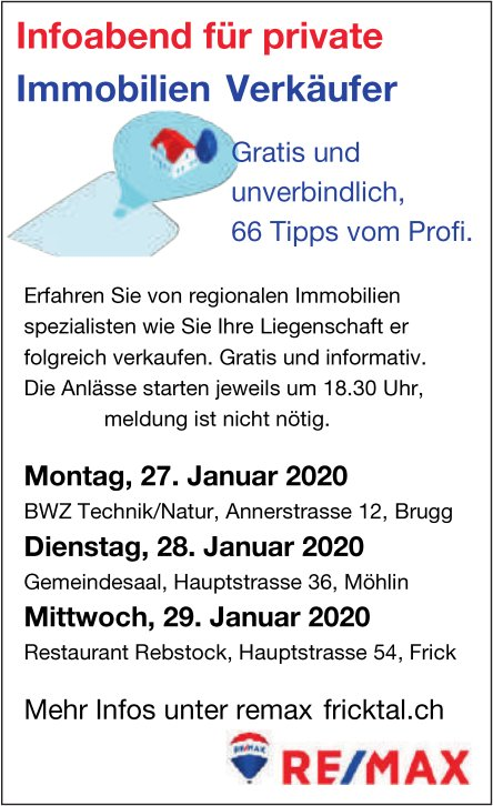 RE/MAX - Infoabend für private Immobilien Verkäufer, 27./28./29. Januar