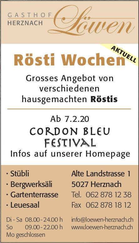 Gasthof Löwen Herznach - Rösti Wochen + Cordon Bleu Festival ab 7. Feb.